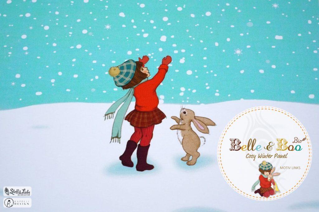 Belle und Boo im Schnee French Terry Bild für Blogbeitrag