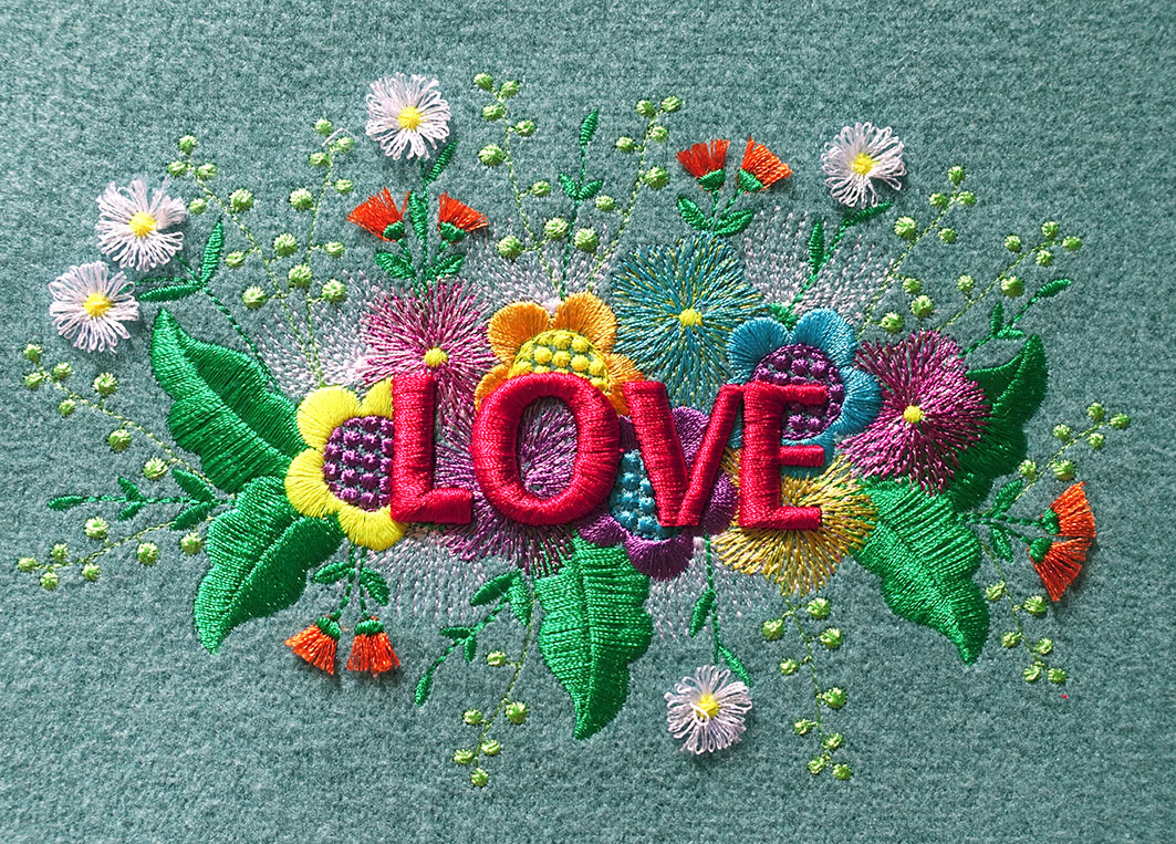 Mega Love Stickdatei Bild in 3D Technik von Kasia für unseren Blogbeitrag Interview mit Kasia
