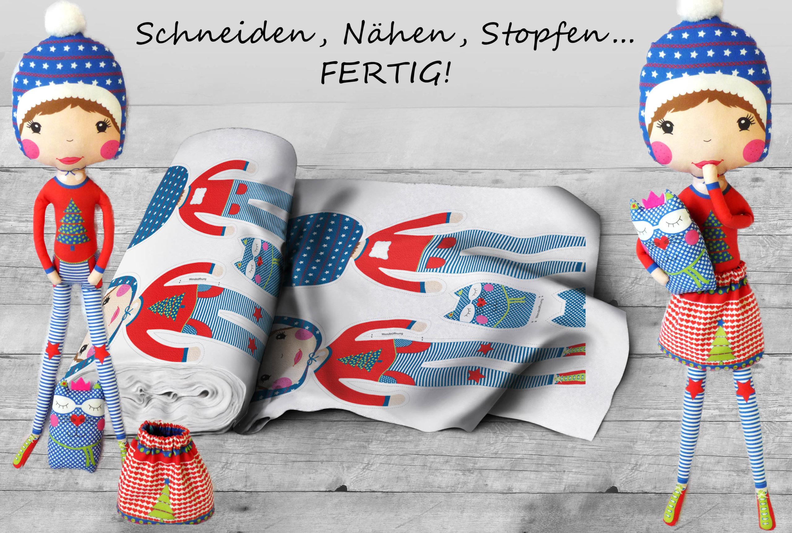 Genähte und ausgestopfte Puppe für Blogbeitrag Intervie mit Kasia für Stoff und Liebe